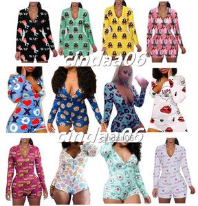 Women Jumpsuit Sexy Slim Casual Bodysuit Pattern Printed Onesies Long Sleeve Shorts Ladies New Fashion Home Rompers 2021