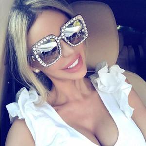 Солнцезащитные очки 2021 Алмазные Кристалл Розовый Для Женщин Большой Рамка SQAURE Очки Мода Дизайнерские Очки Очки оттенки UV400