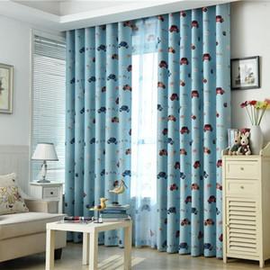 Children Cartoon Car Black Silk Shading Curtains for Living Dining Room Bedroom.
