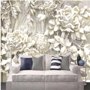 classic painting wallpaper Beige 3D three-dimensional rose flower wallpapers embossed simple TV background wall