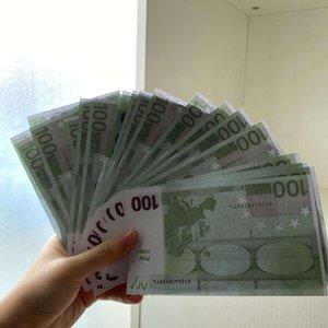Venta al por mayor 100 Euro Realistic Prop 100pcs / Pack Paper Money Kids Toy Copy Family Play o juego Billete de banco US WVWVH
