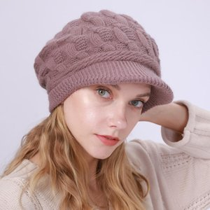 New Fleece Warm Rabbit Wool Beret 8-Word Twist Hat Autumn and Winter Female Knitted Peaked Cap