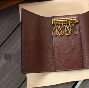 Commercio all'ingrosso borsa a chiave per uomo di alta qualità multicolor in pelle corta portafoglio corto signora sei portachiavi da donna uomo classico con cerniera tasca tasca catena chiave BG6263