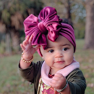 15 Colors Baby Girls Velvet Bow Headbands Kids Bowknot Princess Solid Hair Band Children Hair Accessories HHA1665