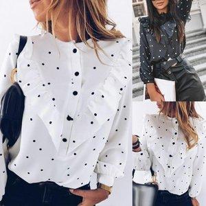 Escritório senhora polka dot impressão de manga comprida blusa cuff botão amarrado botão ruffled camisa harajuku acessórios verao 2021 feminino