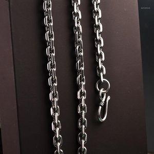 BoCai S925 Стерлинговое Серебро Ожерелье Тайская Серебряная Личность Стиль Восстанавливает древние способы Мода Чистое цепочка Ожерелье1