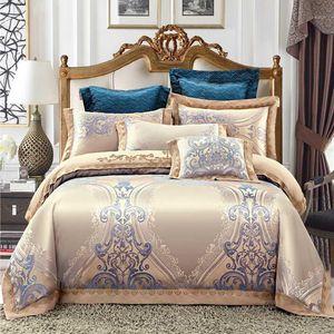 Luxury jacquard Bedding Set King Queen Size Bed Linen silk Cotton Duvet Cover Bed Sheet Set Pillowcases1