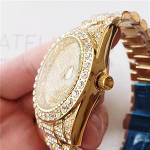 diseñador para hombre de negocios de diamantes reloj masculino mira el reloj del anillo de diamante redondo completo marca el numeral romano horas fuera helado Día reloj de la fecha