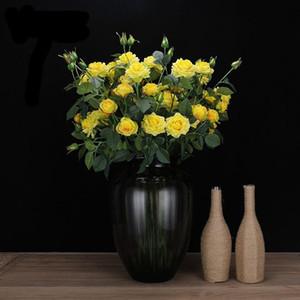 12pcs! wholesale high simulation real touch 5 heads artificial rose flowers wedding decorative Moisturizing felt long stem rose