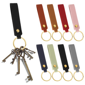 New Colorful PU Leather Keychain Leather Key Chain Waist Wallet Trendy Pendant Strap Car Auto Keyrings Keyholder Components