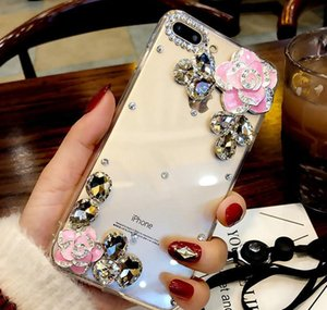 Fashion Luxury Designer Rhinestone Diamond Crystal Camellia Flower Transparent Case For Iphone 11 Pro Max X Xr Xs jllqaI loveshop01