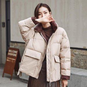 Зима 2020 новая белая утка вниз куртка женщины стоять воротник свободные пальто женские теплые короткие парку зимние снежные пальто вагурдные женщины