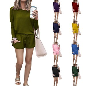 2021 new Designer Autumn and winter women's home loose solid color long sleeve shorts Two-piece set Fashion casual round neck movement Suit