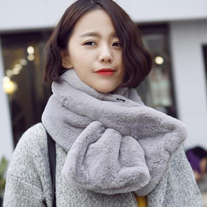 Korean version of the imitation rabbit fur scarf for women autumn winter thick solid color warm plush head collar Scarves 85cm winter scarf