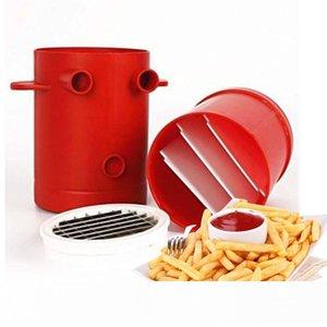 Jiffy Fries Patates Makinası Dilimleyiciler French Fries Makinesi Kesme Makinası Mikrodalga Konteyner 2'si 1 Jiffy Fries Kesici Mutfak Araçları
