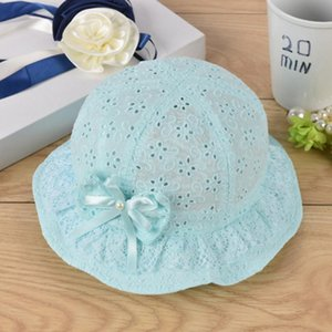 New Children Summer Panamá Hollow Caps Baby Girls Pescador Hat Niños Chicas Bowknot Pearl Hat Fashion Baby Bucket Sun Floral