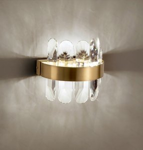 New Modern Crystal Wall Lamp Golden Indoor wall lamp LED Three Color Temperatures For Bedroom Bathroom Corridor Mirror Lights