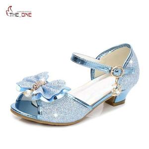 MUABABY Kızlar Sandalet Çocuk Düğün Dans Ayakkabı Bow Glitter Fotoğrafçılık Ayakkabı 5 Renk Pretty Prenses Aksesuarları