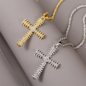 Men Women Cross Pendant Necklace Fully Rhinestone Design Necklace Bling Iced Out Cuba Chain Hip Hop Jewelry Gift Kimter-C310FZ