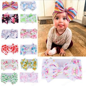 Baby Big Bow Headband DIY Wide Head Bands Elastic Printed Knot Turban Headwraps Girls Headdress Hair Accessories 13 Designs