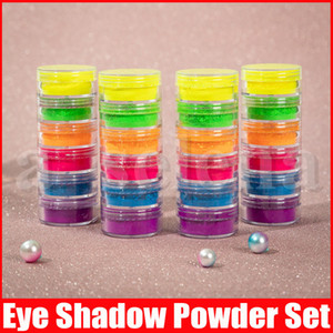 Sombra em pó Maquiagem 6 cores neon sombra para os olhos beleza ajustados Olhos Cosméticos pó novo olhos ardentes 6pcs Jogo da composição DIY Nail Art Pó