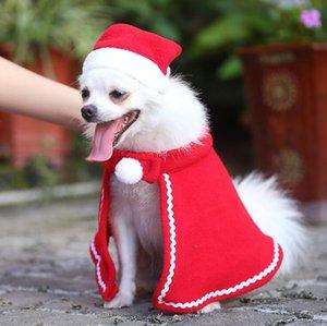 Weihnachten Pet Dekoration Kleiner Hund Hut Kleidung Sets Teddy Hund Cape Kleid-Mantel-Weihnachten Haustier volles Kleid Dekor Kappen Cape Anzug Supplies HWF2239