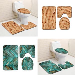 Tapetes de chão de banheiro, tapetes antiderrapantes de veludo coral, um conjunto de três. Esteira de banheiro de mármore, acessórios