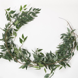 Главная Свадебный декор Висит Цветы Ротанга Искусственный плющ Листья Гирлянда Вечнозеленые Лоза-Растения Поддельные Зеленые растения Rattan 1.65M EWF2742
