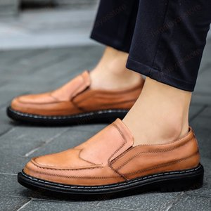 Men Loafers Leather Formal Shoes outdoor fashion Elegant Dress Shoes handmade sewing Simple Slip On Man Casual shoes Footwear