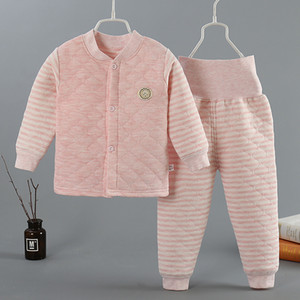 Winter new baby warm and thickened baby clothing colored cotton children's long sleeve high waist belly protection cotton underwear set
