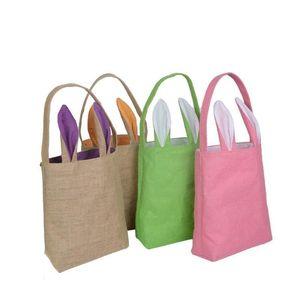 Cotton Linen Easter Bunny Ears Basket Bag For Easter Gift Packing Easter Handbag For Child Fine Festival C sqcgIc toys2010