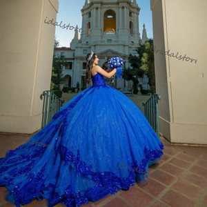 2021 Princess Royal Blue Quinceanera Dresses Luxury Shiny Ball Gown Sequined Lace Masquerade Formal Prom Dress Vintage Puffy Sweet 16 Dress
