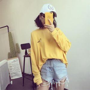 2020 Autumn New T shirts Women Korean Harajuku T Shirt Womens Long Sleeve Loose Yellow White Tees Funny Cartoon Pattern Printed