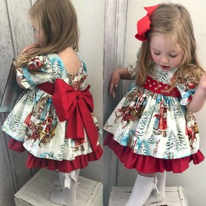 1-6T Christmas Princess Dress Toddler Girls Outfits Kids Baby Girl Bowknot Party XMAS Gown Formal Dress Costume