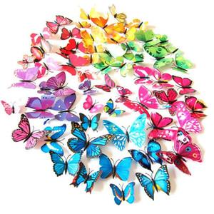 12 adet / grup Renkli Pin ve Mıknatıs Yapay Butterfl Parti Iyilik Sevimli Kelebekler Duvar Çıkartmaları Parti Hediyeleri Hediye Için