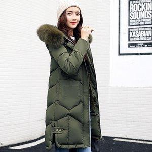 Parkas larga caliente del invierno de la capa del algodón acolchada chaqueta de las mujeres más grande cuello de piel sintética con capucha femenina delgada larga Abrigo fz2409