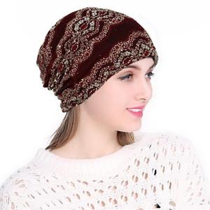 Muslim Turban Hats Women Stretch Bonnet Lace Skullies Headscarf Wrap Chemo Lady Bandana Casual Beanies
