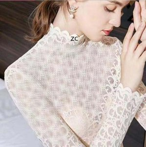 ZC Full Letter Lace Women Tops INS Fashion Embroidery Lady Long Sleeve Tees Indoor Outdoor Elegant Female Shirts 01