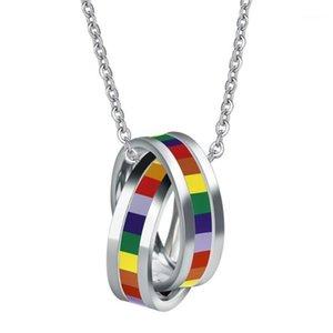 ANL045, paslanmaz çelik gökkuşağı sopa sarkık kolye lezbiyen gurur eşcinsel gurur zincir choker köpek etiketi kolye aşk aşk1