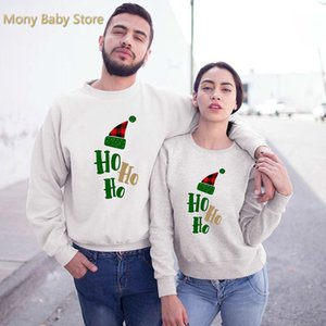 Autumn Matching T-shirt Christmas Elk Long Sleeve Sweater for Couple Clothes Family Party Look Children Hoodies Top 2021
