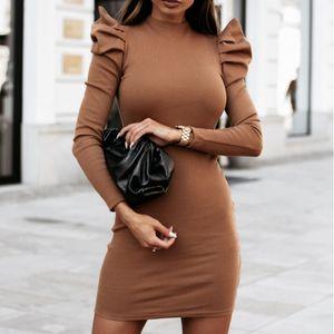 Autumn Winter 2020 Knitted Women Long Puff Sleeve Dresses Women Willon Green Dress Bodycon Solid O-Neck Mini Clubwear G2081 Q0111
