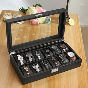 جلدي 12 فتحة الكربون ووتش مربع الألياف تصميم مجوهرات عرض تخزين حامل اللفاف الأسود ساعات كبيرة مربع سات kutusu1