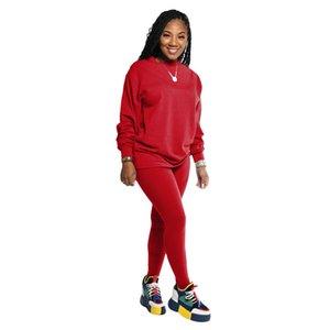Tasarımcı Tayfa Boyun Tracksuits Moda Tok Renk İki Adet Pantolon Spor Casual İki Parça Setler Womens