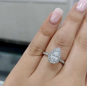 Fashion 925 Sterling Silver white pink Pear shaped cut Diamond Wedding Engagement Cocktail Drop Rings For Women Jewelry gift1