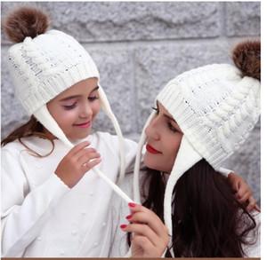 2PCS MotherBaby Chapeau New Parent Enfant d'hiver Casquettes souples Tricoté parent-enfant Chapeau d'hiver Crochet Hat Earflap