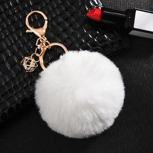 23 Colors Hot Sale Trinket Fluffy Artificial Rabbit Fur Ball Key Chain Pompons Keychain Women Car Bag Key Ring Jewelry Eh343 sqcPbh