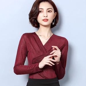 Korean Women Blouses Women Long Sleeve Blouse Shirt Woman V-neck Basic Blouses Tops Plus Size 3XL Blusas Tops V-Neck Solid Full