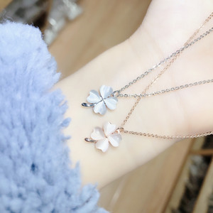 Korean New Necklace Simple Clover Cat's Eye Stone Chain Lady 100 Fashion Jewelry