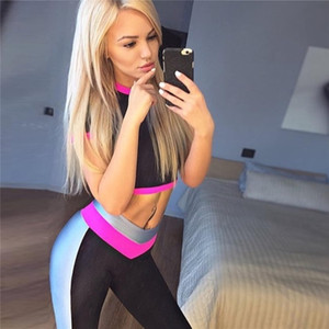Hot Crop Top T-shirt Patchwork Gym Yoga Pants Push Up High Quality Slim Fitness Set Women's Sports Suits Yoga Clothes For Women Y200328