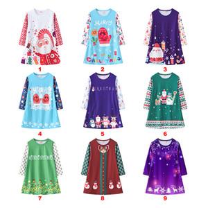 kids clothes girls Christmas cartoon santa claus print dress children Xmas Princess dress 2021 Spring Autumn fashion baby Clothing Z1928